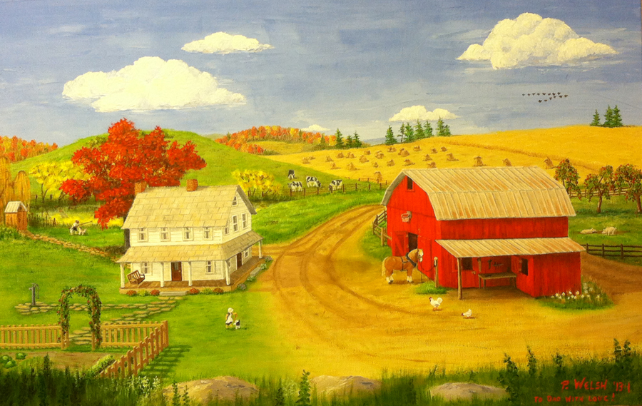 """Autumn Amish Farm"" painting by Patricia Welsh at Hamrick Truck School"
