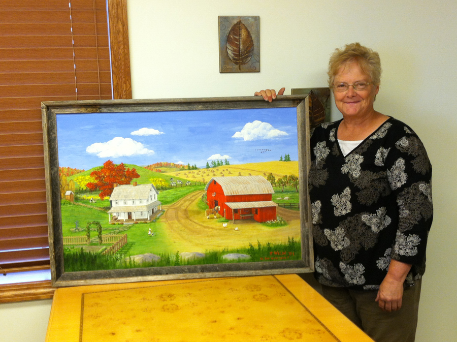 Hamrick instructor Pat Welsh with painting